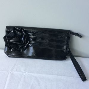 Handbags - Black Pleather Clutch with flower